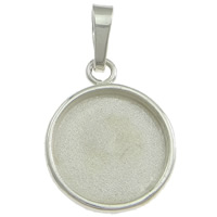 Sterling Silver Pendant Setting, 925 Sterling Silver, Flat Round, 11.5x14.5x1.5mm, Hole:Approx 2x5mm, Inner Diameter:Approx 10mm, Sold By PC