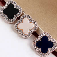 Hair Accessory DIY Findings, Zinc Alloy, with Acrylic, Four Leaf Clover, plated, with rhinestone, more colors for choice, nickel, lead & cadmium free, 23x23mm, Sold By PC