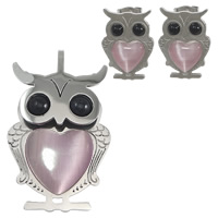Stainless Steel Jewelry Sets, 304 Stainless Steel, pendant & earring, with Cats Eye & Glass Pearl, Owl, plated, more colors for choice, 22.5x38x6mm, 13x18x13mm, Hole:Approx 3.5mm, Sold By Set