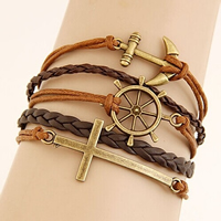 Combined Bracelet, Zinc Alloy, cross & anchor & Ship Wheel, with PU & Wax, with 1.5Inch extender chain, antique bronze color plated, 5-strand, nickel, lead & cadmium free, 22mm, Length:Approx 7 Inch, 150Strands/Lot, Sold By Lot