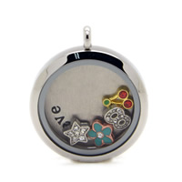 Stainless Steel Floating Locket Pendant, with Glass, Flat Round, plated, enamel & with rhinestone, more colors for choice, 30mm, Hole:Approx 3mm, Sold By PC