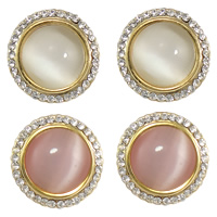 Cats Eye Earring, Zinc Alloy, with Cats Eye & Rubber, Flat Round, plated, with rhinestone, more colors for choice, nickel, lead & cadmium free, 15x15x5mm, Sold By Pair