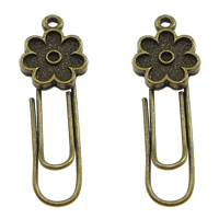 Zinc Alloy Bookmark, with Iron, Flower, plated, more colors for choice, 12x35x3mm, Hole:Approx 1.5mm, Sold By PC