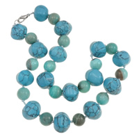 Synthetic Turquoise Necklace, with Jade, zinc alloy lobster clasp, Rondelle, more colors for choice, 15x17mm, Sold Per Approx 18.5 Inch Strand