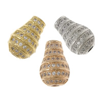 Cubic Zirconia Micro Pave Brass Beads, Vase, plated, Customized & micro pave cubic zirconia, more colors for choice, nickel, lead & cadmium free, 13x17x4mm, Hole:Approx 2mm, Sold By PC