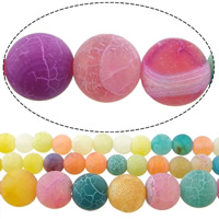 Natural Effloresce Agate Beads, Round, different size for choice & Customized, mixed colors, Hole:Approx 1mm, Sold Per Approx 15 Inch Strand