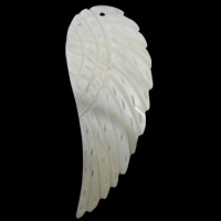 Natural Freshwater Shell Pendants, Wing Shape, white, 23x61x3mm, Hole:Approx 1.5mm, Sold By PC