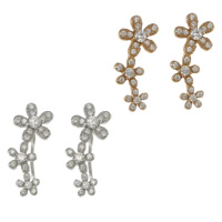 Cubic Zirconia Micro Pave Sterling Silver Earring, 925 Sterling Silver, Flower, micro pave cubic zirconia, 7x18mm, Sold By Pair