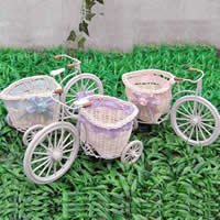 Flower Planter, Iron, with Cane & Satin Ribbon, Trishaw, knit, mixed colors, nickel, lead & cadmium free, 50PCs/Lot, Sold By Lot