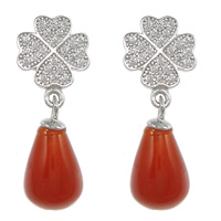 Sterling Silver Agate Drop earring, 925 Sterling Silver, with Red Agate, Four Leaf Clover, without earnut & micro pave cubic zirconia, 23mm, 8.5x11x12mm, 7x13mm, 0.8mm, Sold By Pair