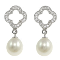 Sterling Silver Drop Earring, 925 Sterling Silver, Flower, without earnut & micro pave cubic zirconia & with glass pearl, 24mm, 11x13x13mm, 8x12.5mm, Sold By Pair