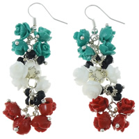 Coral Drop Earring, Natural Coral, with Crystal, brass earring hook, Flower, multi-colored, Sold By Pair