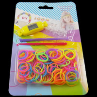 Loom Watch Kit, Rubber, with Soft PVC & Plastic, synthetic, with digital watch & attachted crochet hook & with plastic S clip & for children, multi-colored, 17x1mm, 15x54x13mm, 115x175x17mm, Approx 200PCs/Box, Sold By Box