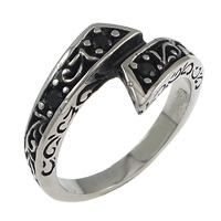 Rhinestone Stainless Steel Finger Ring, with rhinestone & blacken, 12mm, US Ring Size:10, Sold By PC