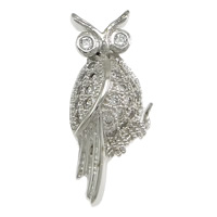 Cubic Zirconia Micro Pave Sterling Silver Pendant, 925 Sterling Silver, Owl, plated, micro pave cubic zirconia, more colors for choice, 8x18.5x3.5mm, Hole:Approx 2x4mm, Sold By PC