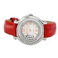 Women Wrist Watch, Stainless Steel, with Cowhide & Glass, for woman & with cubic zirconia, red, 19x42mm, Length:Approx 9 Inch, Sold By PC