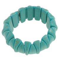 Synthetic Turquoise Bracelet, with Elastic Thread, turquoise blue, 28x17x11mm, Inner Diameter:Approx 50mm, Length:Approx 6 Inch, Sold By Strand