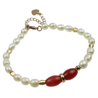 Cultured Freshwater Pearl Brass Bracelet, with Jade, brass lobster clasp, with 5cm extender chain, Rice, natural, white, 6-7mm, Sold Per Approx 7.5 Inch Strand