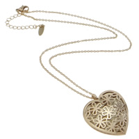 Stainless Steel Jewelry Necklace, with 5cm extender chain, Heart, rose gold color plated, oval chain & hollow, nickel, lead & cadmium free, 29.5x34x12mm, Sold Per Approx 15 Inch Strand