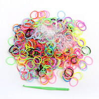 Loom Bands, Rubber, with Plastic, attachted crochet hook & with plastic S clip & DIY & for children, mixed colors, 9x15mm, 600PCs/Bag, Sold By Bag