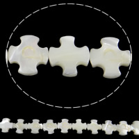 Sea Shell Beads, Natural Sea Shell, Cross, white, Hole:Approx 1mm, Length:Approx 15.7 Inch, 29PCs/Strand, Sold By Strand