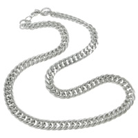 Stainless Steel Chain Necklace, curb chain, original color, 9x4mm, Length:Approx 22 Inch, Sold By Strand