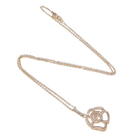 Rhinestone Brass Necklace, Flower, plated, round link chain & with rhinestone, more colors for choice, nickel, lead & cadmium free, Length:Approx 16 Inch, Sold By Strand
