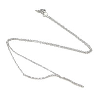 Rhinestone Brass Necklace, plated, oval chain & with rhinestone, more colors for choice, nickel, lead & cadmium free, 31x4x2mm, 1.5x23x1.5mm, 1.5x1.5mm, Length:Approx 16 Inch, Sold By Strand