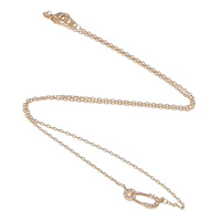 Rhinestone Brass Necklace, Safety Pin, plated, oval chain & with rhinestone, more colors for choice, nickel, lead & cadmium free, Length:Approx 16 Inch, Sold By Strand