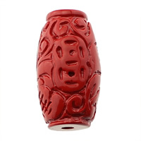 Cinnabar large hole bead, Oval, natural, 65% Cinnabar, red, 14.5x26mm, Hole:Approx 3mm, Sold By PC