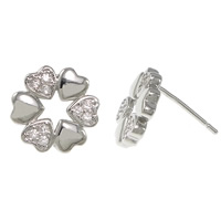 Cubic Zirconia Micro Pave Sterling Silver Earring, 925 Sterling Silver, Flower, plated, without earnut & micro pave cubic zirconia, more colors for choice, 12x12x14mm, 0.8mm, Sold By Pair