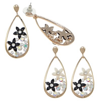 Resin Zinc Alloy Earring, with rubber earnut & Resin, Teardrop, plated, with rhinestone, more colors for choice, nickel, lead & cadmium free, 22x49x14.5mm, Sold By Pair
