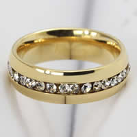 Rhinestone Stainless Steel Finger Ring, Donut, gold color plated, different size for choice & Customized & with rhinestone, 6mm, 35PCs/Bag, Sold By Bag