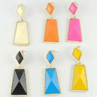 Resin Zinc Alloy Earring, with Resin, stainless steel post pin, Trapezium, gold color plated, faceted, mixed colors, nickel, lead & cadmium free, 21x55mm, 5Pairs/Bag, Sold By Bag