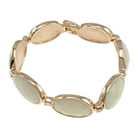 Crystal Bracelets, Brass, with Crystal, Flat Oval, real rose gold plated, faceted, white, nickel, lead & cadmium free, 29x15x5mm, Length:Approx 7.5 Inch, Sold By Strand