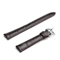 Cowhide Watch Band, stainless steel buckle, black, 14mm, Length:Approx 7.5 Inch, Sold By Set