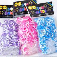 Loom Bands, Rubber, with plastic C clasp or S clasp & with bubble gum flavor & DIY & for children & two tone, mixed colors, 2mm, 600PCs/Bag, Sold By Bag