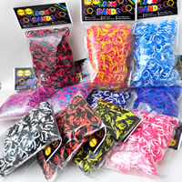 Loom Bands, Rubber, with plastic C clasp or S clasp & DIY & for children & two tone, mixed colors, 2mm, 600PCs/Bag, Sold By Bag