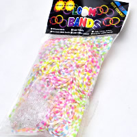 Loom Bands, Rubber, with plastic C clasp or S clasp & DIY & for children & luminated & two tone, mixed colors, 2mm, 300PCs/Bag, Sold By Bag