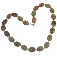 Bronzite Stone Necklace, with Nylon Cord, brass lobster clasp, Flat Oval, natural, 13x18x6mm, Length:Approx 18 Inch, Sold By Strand
