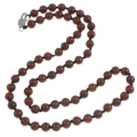 Jasper Brecciated Necklace, with Nylon Cord, brass lobster clasp, Round, natural, Length:Approx 18.5 Inch, Sold By Strand