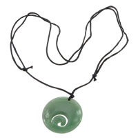 Green Aventurine Necklace, with Nylon Cord, Flat Round, adjustable & 2-strand, 35x6.5mm, 1mm, Length:Approx 16-31 Inch, Sold By Strand