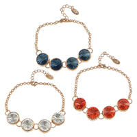 Crystal Bracelets, Brass, with Crystal, with 1.5lnch extender chain, Flat Round, real rose gold plated, rolo chain, more colors for choice, nickel, lead & cadmium free, 13x13x9mm, Length:Approx 6.5 Inch, Sold By Strand
