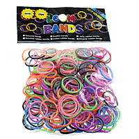 Loom Bands, Rubber, platinum color plated, attachted crochet hook & with plastic S clip, mixed colors, nickel, lead & cadmium free, 1.3mm, 12x6x2mm, 83x6x4mm, 600PCs/Bag, Sold By Bag