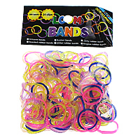 Loom Bands, Rubber, platinum color plated, attachted crochet hook & with plastic S clip & colorful powder, mixed colors, nickel, lead & cadmium free, 1.3mm, 12x6x2mm, 83x6x4mm, 600PCs/Bag, Sold By Bag