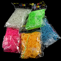 Loom Bands, Rubber, platinum color plated, attachted crochet hook & with plastic S clip & transparent & luminated, more colors for choice, nickel, lead & cadmium free, 1.3mm, 12x6x2mm, 83x6x4mm, 600PCs/Bag, Sold By Bag