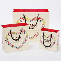 Gift Shopping Bag, Paper, with Satin Ribbon, Rectangle, with heart pattern & different size for choice, 100PCs/Lot, Sold By Lot