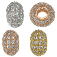 Cubic Zirconia Micro Pave Brass European Bead, Rondelle, plated, micro pave cubic zirconia & without troll, more colors for choice, nickel, lead & cadmium free, 6x10mm, Hole:Approx 4mm, Sold By PC