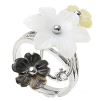 Shell Finger Ring, Brass, with Black Shell & Yellow Shell & White Shell, Flower, platinum color plated, adjustable & with rhinestone, nickel, lead & cadmium free, 36x19x27mm, US Ring Size:7.5, Sold By PC