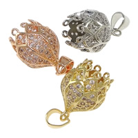 Cubic Zirconia Micro Pave Brass Pendant, Flower, plated, with loop & micro pave cubic zirconia, more colors for choice, nickel, lead & cadmium free, 11x17mm, Hole:Approx 3x4mm, Sold By PC